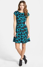 Get Extra $74.10 Off Women's Giraffe Print Fit & Flare Dress